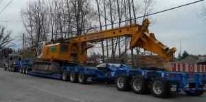 80 ton Drill being moved on a 13 axle Lowbed